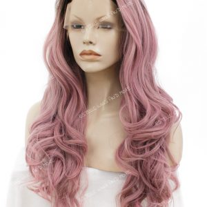KIM -Rooted Dark Brown|Dusty Pink|Long Wavy Lace Front Wig