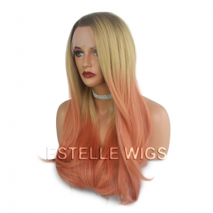 RIA-Brown Rooted|Light Blonde|Peach Straight Lace Front Wig