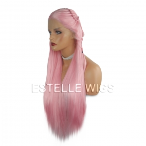 TITO-Candy Pink Braided Straight Lace Front Wig