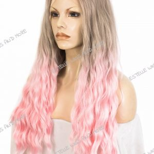 HAILEY-Ash Blonde Light Pink Ombre Wavy Lace Front Wig