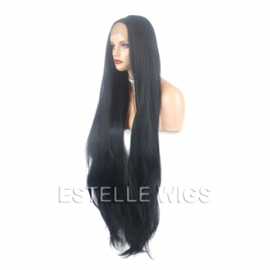 "CHLOE-Black 40"" Long Straight layered Lace Front Wig"