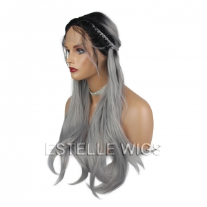 HOLLY-Black|Grey Braided Long Straight Lace Front Wig