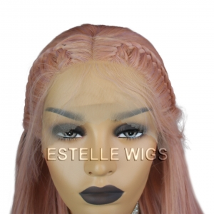 HOLLY-Rose Gold|Peach |Lavender Mix Braided Long Straight Lace Front Wig