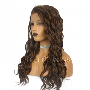 DOLLY -Chestnut Brown /Honey Blonde Mix Long Curly Synthetic Lace Front Wig