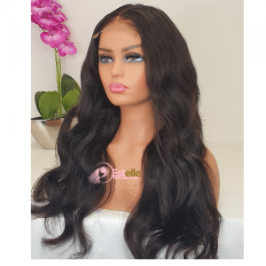 18″ Natural Black Wavy Brazilian Virgin Human Wig