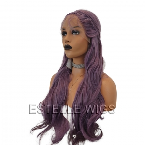 HOLLY-Purple Mix Braided Long Straight Lace Front Wig