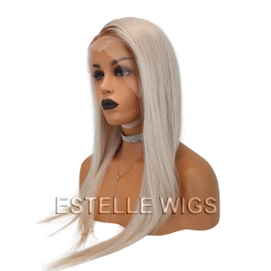 CHARLOTTE -Brown Rooted Platinum Blonde Brazilian 100% Human Hair Lace Front Wig