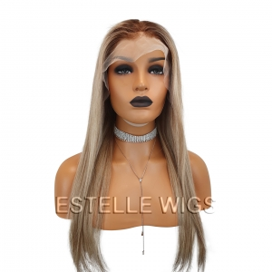 CHARLOTTE -Brown Rooted Blonde Mix Brazilian 100% Human Hair Lace Front Wig