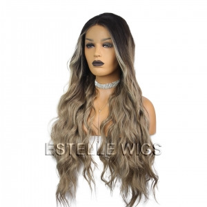 LUCIE-Brown Rooted  Ash Blonde/Brown Long Wavy  Lace Front Wig