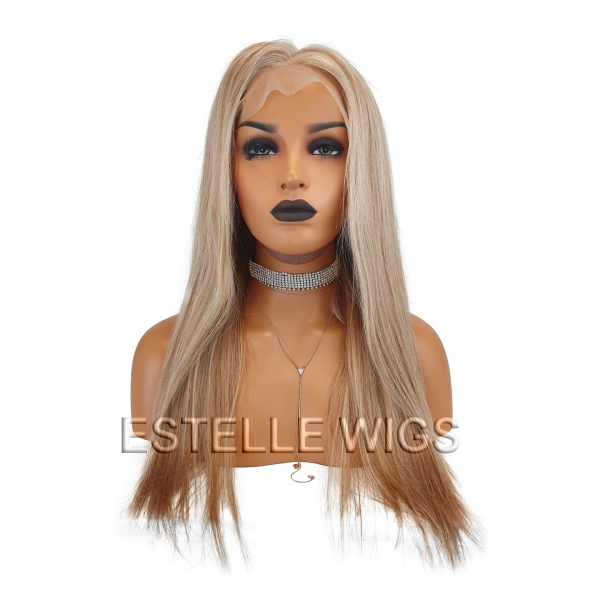mixed blonde human hair wig