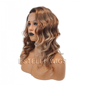 FAYE-Brown Roots Honey Blonde Ombre Wavy Soft Lace Front Wig