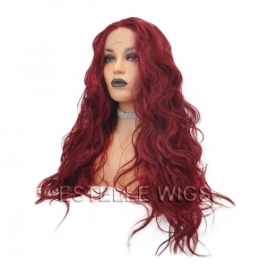 DANE-Dark Red Curly Long Synthetic Glueless  Lace Front Wig