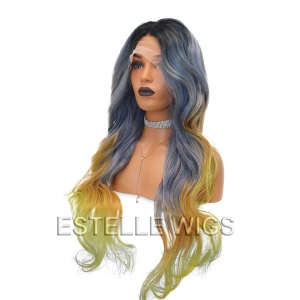 DALIAH- Rooted Blue Yellow Mix Glueless Lace Front  Wig