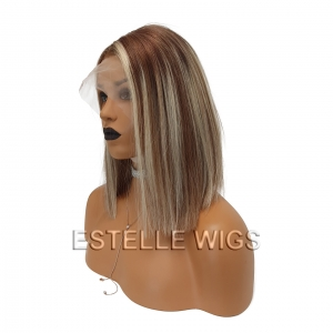 VERA -Brown Rooted Blonde Brown Mix 100% Human Hair Lace Front Wig