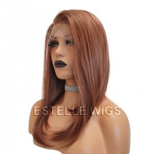 AMI-Copper Red Long Bob Straight 13*6 Lace Front Wig