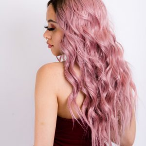 ELENA-Brown Rooted  Pink Long Wavy Lace Front Wig