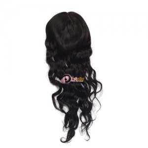 Natural Black  18″ Lace Front Mono Top Weft Topper
