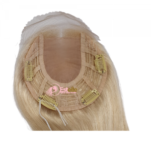 Bleach Blonde 20″ Lace Front /Silk Top Wefts Top Piece