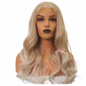 RUBY-Dark Bleached Blonde Ombre Long Wavy 13*6 Lace Front Wig