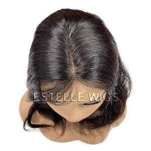 Natural Black/Brown  18″ Lace Front Mono Top Weft Top Piece