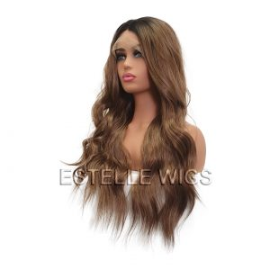 ELENA-Brown Rooted Mixed Brown Long Wavy Synthetic Lace Front Wig