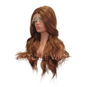 ELENA-Copper Brown Long Wavy Synthetic Lace Front Wig