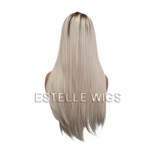 STEPH-Ash Brown Roots / Ash Blonde Straight Lace Front Wig